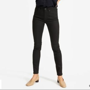 Everlane ankle mid rise black skinny jeans size 28